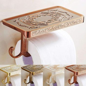 Wall Mounted Bathroom Tissue Paper Holders Rack Dispenser Paper Roll Storage Shelf Cover Vintage Toilet Phone Stand Rack