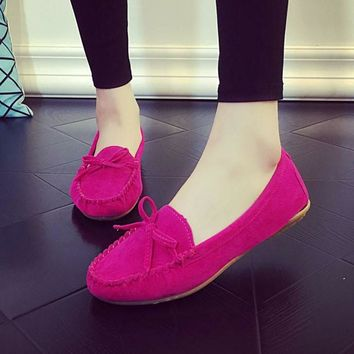 Spring Autumn Women Ballets Flats Bow Boat Shoes Car Shoes Candy Color loafers Shallow