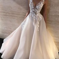 Evening Dress custom White Prom Dress V Neck Appliques