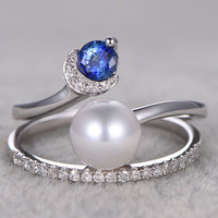 Pearl wedding ring sets diamond sapphire engagement ring 7mm South sea pearls 14k/18k white gold