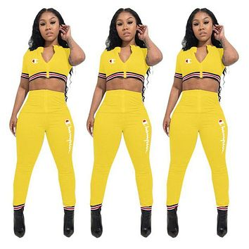 Champion Fashion New Summer Embroidery Letter Leisure Top And Pants Two Piece Suit Yellow