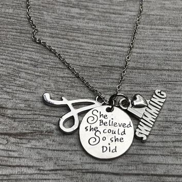 Personalized Swim She Did Necklace with Letter Charm