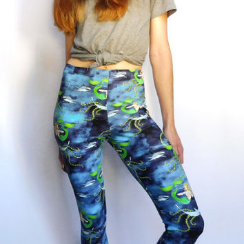 Printed leggings- shark punch mermaid print - yoga pants - tights