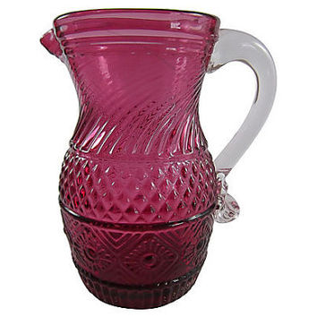 Cranberry Glass Pitcher w/ Clear Pulled Handle Victorian Mould Blown