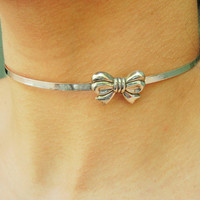 Solid 925 Sterling Silver Moveable Bow Neck Cuff Neckwire Locking BDSM Slave Pet  Baby Girl  Bondage Day Collar w/Solid 925 Sterling lock