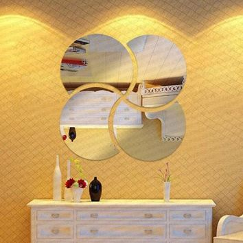 3D Circles Mirror Puzzle Home Decor Bell Cool Mirrors Wall Stickers