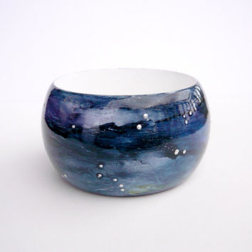 Night and stars, wooden bangle, hand painted, blue bracelet, wooden jewelry, acryilic painting