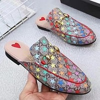 GUCCI Fashion New More Letter Star Print Flip Flop Slippers Shoes