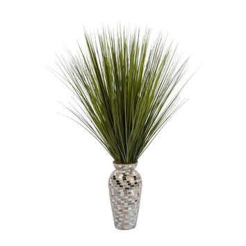 "32"" Tall Onion Grass in Mother of Pearl Mosaic Vase"