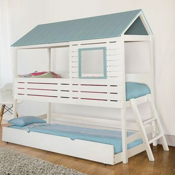 Omested collection light blue and white finish wood loft play house design twin size bed