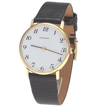Movado Mens Pre-Owned Watch - 14k - Leather Strap - Circa 1990s - White Dial
