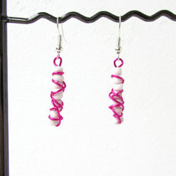 Hot pink earrings, wire wrapped, bright colourful earrings, pink wire earrings, lightweight earrings, white and pink, handmade in the UK