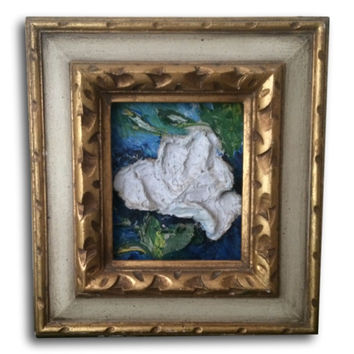 Magnolia Oil Painting Gold Baroque Frame 3D