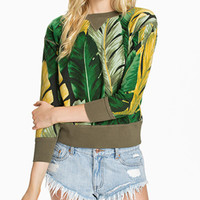 Palm Leaves Print Sleeve Shirt