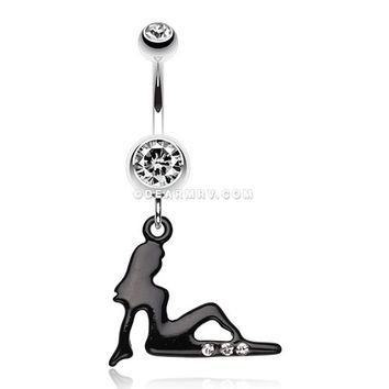 Mudflap Trucker Girl Sparkle Belly Ring (Clear)