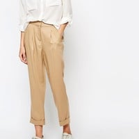 Whistles Pleat Front Twill Trousers in Stone at asos.com