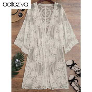 Belleziva Embroidered Sheer Cover Up Swimsuit Lace See-through Cover Up Women De Plage Beach Cardigan Bathing Suit Cover Up