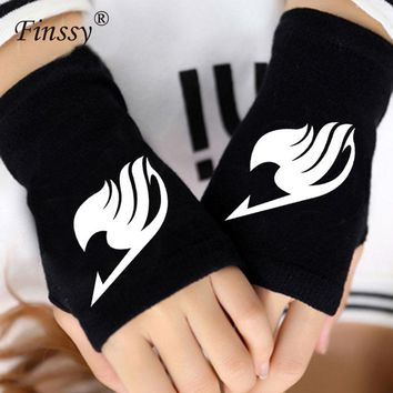 Anime Fairy Tail Guild Finger Cotton Knitting Wrist Gloves Mitten Lovers Accessories Cosplay Warm Cospaly Fingerless Gloves