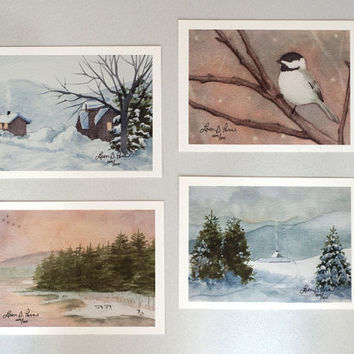 Set of Winter Watercolor Paintings- Set of four 3 1/2 x 5-inch Archival Prints- Signed Giclees by Laura D. Poss