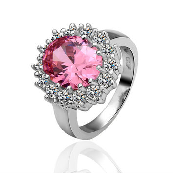 Pink Flower Zircon White Gold Plated Ring