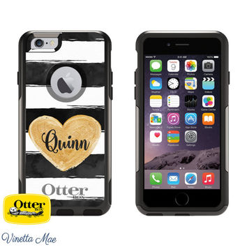 iPhone Otterbox Commuter Series Case for iPhone 5/5s, 6/6s, 6 Plus/6s Plus Monogrammed Watercolor Heart Stripe Personalized Phone Case 1005