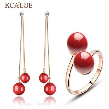 KCALOE Set Jewelry Red Artificial Coral Long Earrings Double Ball Adjustable Ring Rose Gold Plate Crystal Women Jewelry Sets