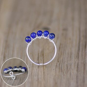 Sterling silve lapis stone Ring Free US Shipping handmade anni designs