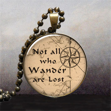 Not All Who Wander are Lost quote pendant, Lord of the Rings jewelry,  quote necklace charm