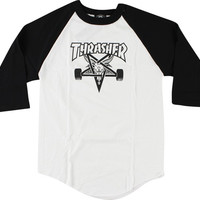 Thrasher Sk8 Goat Raglan 3/4 Sleeve XL White/Black