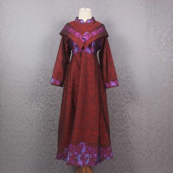Red Shawl Wrapped Gown Shawl Collar Wedding Dress Fancy Floral Pattern Gown Dress
