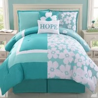 Reversible Aqua Splash Hope Bed in a Bag Aqua/Teal/White