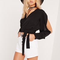 Missguided - Open Sleeve Wrap Crop Top Black