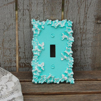 Shabby Chic Switch Cover, Wall Plate, Mint Green, White, Ornate, Flowered, Upcycled, Hand Painted