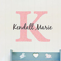 Name and Initial Chevron Pattern Personalized Fabric Repositionable Wall Decal
