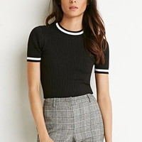 Striped-Trim Ribbed Top