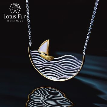 Lotus Fun Real 925 Sterling Silver Handmade Designer Fine Jewelry Creative Sailboat Necklace for Women Acessorio Collier