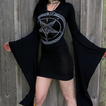 Black & White Pentagram Hooded Drape Tunic Mini Dress