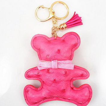 fashion pink Bear handmade keychain,Tassels and gold keychain / independent objects trend accessories, pink seduction, leather keychain