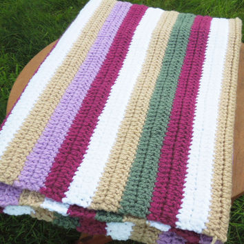 "Colorful vintage crochet afghan throw blanket with raspberry red purple white tan green stripes 44"" x 32"""