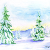 Snowy Trees Watercolor Painting Landscape 8 x 10 Christmas scene