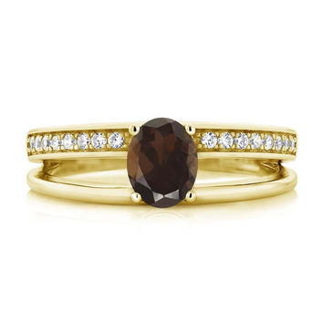 0.91 Ct Oval Brown Smoky Quartz 18K Yellow Gold Plated Silver Ring