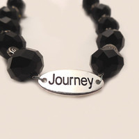 Cancer Awareness Jewelry, Black crystal for melanoma, Journey charm