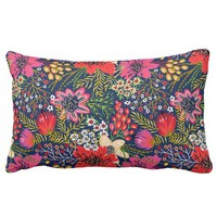 Vintage Bright Floral Pattern Fabric Lumbar Pillow