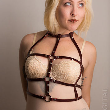 Cage Harness - Leather Chest & Body Harness - Available in Oxblood or Black
