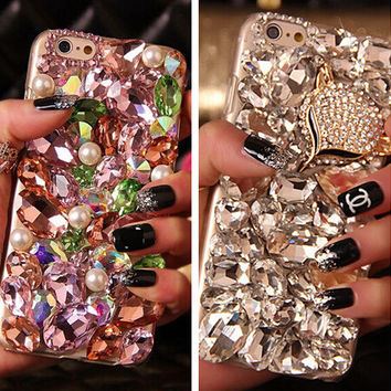 3D Rhinestone Diamond Case Cover For Samsung Galaxy C5 S3 S4 S5 S6 S7 Note 2 Note 3 Note 4 Note 5 Note 7 Luxury Bling Back Cover