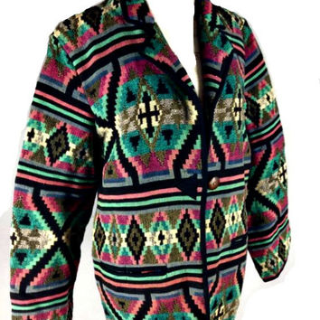 ViiNtaGe 80's 90's Tribal Tapestry Jacket Boho Shrug Hippie Sweater Azteca Navajo festival Indian Blanket Western Coachella Gpysy L