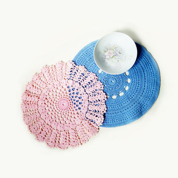Vintage Two Centerpiece Doilies Crochet , Handmade Round Doilies Pink and Blue .