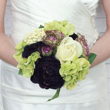 "Silk Rose, Ranunculus, and Hydrangea Wedding Bouquet in Green Plum11"" Tall"