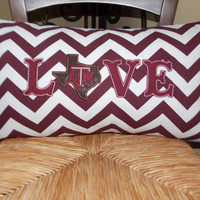 Texas A&M Love Appliqued Pillow Cover