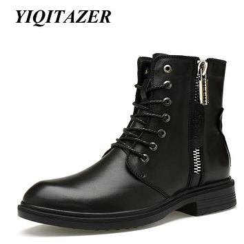 YIQITAZER 2017 Rubber Soles Genuine Leather Men Military Ankle Boots,Nature Wool Winter Snow Army Boots Man Plus Size 45 46